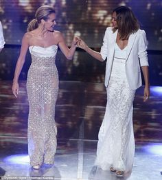 Amanda Holden - Rami Al Ali Spring 2015 Couture gown, and Saqarra jewels.. Alesha Dixon - Michael Cinco Spring 2015 Couture look, CARAT* London rings, and Giuseppe Zanotti heels..