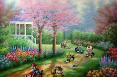 Super Mario Kart Painting, 'Ridin Dirty' - Repurposed Thrift Art - Limited Edition Print or Poster