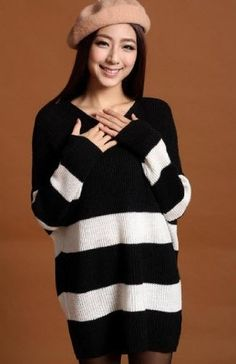 Available in Large Sizes Long Knitted Women Sweaters And Pullovers New Autumn Winter Plus Size Design Batwing Crochet Pullovers Blusas De Inverno Autumn Long Sweaters, Black Sweaters, Sweaters For Women, Pullover Sweaters, Wide Stripes, Black White Stripes, Batwing Sleeve, Long Sleeve Sweater, Hot Outfits
