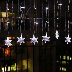 COOSA Stern LED-Vorhang Lichterkette, Fenster-Licht für Weihnachten ...