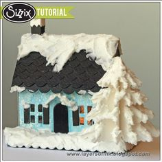 Sizzix Blog Winter Cottage Tutorial by Anna-Karin. Made with Brenda Walton's 3-D Country Cottage and Christmas Tree  dies, Distress Paint and Wendy Vecchi's Embossing Paste.