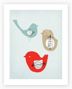 "3 birds, art print 8 x 10"""