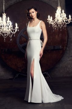 View Striking Scoop Neckline Wedding Dress - Style from Mikaella Bridal. Crêpe gown with scoop neck. Fit and flare Crêpe skirt with side slit. Wedding Dress Necklines, Wedding Dress Styles, Designer Wedding Dresses, Fit And Flare Skirt, Fit And Flare Wedding Dress, Mikaella Bridal, Stunning Dresses, Bridal Gowns, Gown Wedding
