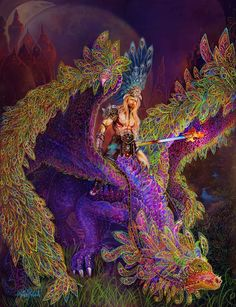 Peacock Painting - Peacok Dragon by Steve Roberts Fantasy Dragon, Dragon Art, Fantasy Art, Peacock Painting, Beautiful Dragon, World Of Fantasy, Thing 1, Fantasy Inspiration, Mythical Creatures