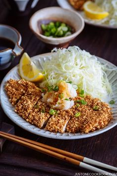 Enjoy this Japanese panko breaded and baked chicken cutlet with homemade ponzu and grated daikon. Gluten Free Japanese Food, Easy Japanese Recipes, Japanese Dishes, Asian Recipes, Gourmet Recipes, Cooking Recipes, Healthy Recipes, Ethnic Recipes, Gf Recipes