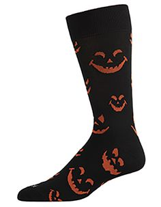 Pumpkin Faces Men's Halloween Crew Socks by MeMoi