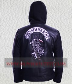 SOA Sons Of Anarchy Black Hooded Leather Jacket