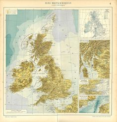 1930s Physical Map of the British Islands  by CarambasVintage