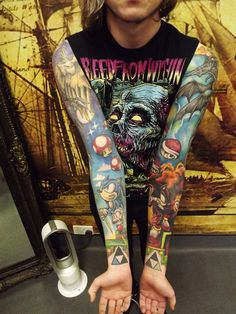 full color sleeve sonic tattoo. I'm getting them both. Just so you know;) @Jared Nero