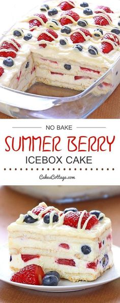Bake Summer Berry Icebox Cake - Cakescottage Looking for a quick and easy Summer dessert recipe? Try out delicious No Bake Summer Berry Icebox Cake !Looking for a quick and easy Summer dessert recipe? Try out delicious No Bake Summer Berry Icebox Cake ! 13 Desserts, Easy Summer Desserts, Summer Dessert Recipes, Brownie Desserts, Oreo Dessert, Recipes Dinner, Baking Desserts, Holiday Desserts, Icebox Desserts