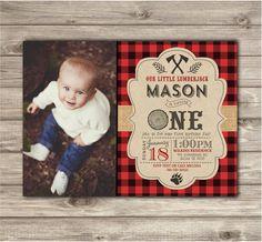 Photo Birthday Invitations Boy First Birthday LumberJack Woodland Lumber jack…