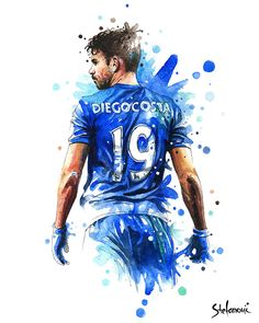 Items similar to Diego Costa Chelsea FC - Wall Art Print Poster of the Original Watercolor Painting Football Poster Soccer Poster on Etsy Football Squads, Football Art, Poster On, Poster Prints, Sports Drawings, Soccer Poster, Soccer World, Chelsea Fc, Sports Art