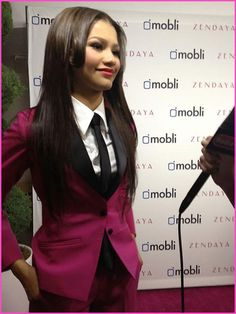 Zendaya Coleman Wears A Custom Made Pink Suit To Her 16th Birthday Party
