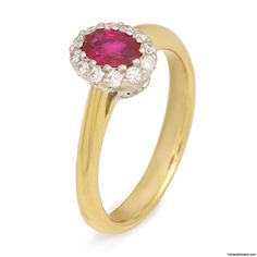 18 Karat White and Yellow gold ring with ruby and diamonds. Available 14 Karat Omaha