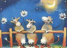 cows under the moon by Raija Nokkala