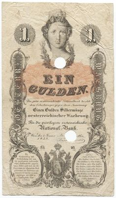 1 Gulden 1858 (Austria mit Mauerkrone) mit off. Entwertungslochung Österreich Kaiserreich Banknote, Central Europe, Austria, Vintage World Maps, History, Retro, Illustration, Design, Stop It