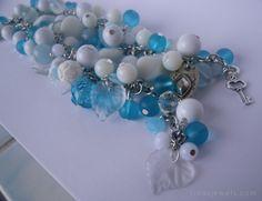 White and blue beaded bracelet #bracelet #statement #jewellery #jewelry #handmade #beaded