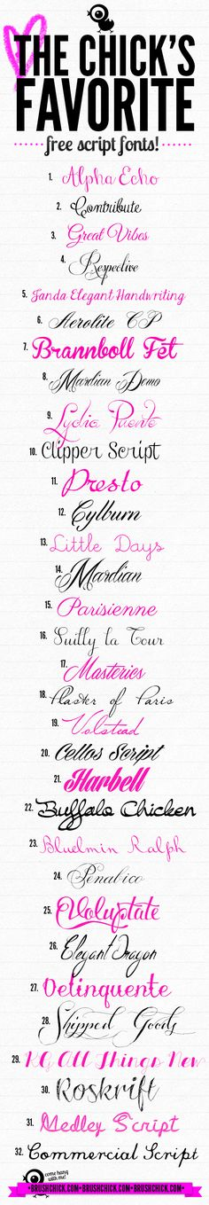 The Chick's Favorite Free Script Fonts! Calligraphy Fonts, Typography Fonts, Typography Design, Calligraphy Alphabet, Font Alphabet, Graffiti Alphabet, Islamic Calligraphy, Fancy Fonts, Cool Fonts