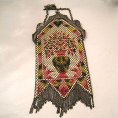 Vintage Mandalian Mesh Purse Enameled Flower Urn Bag Handbag