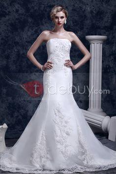 グランドトランペット/マーメイドストラップレスチャペルトレイン刺繍ダーシャウェディングドレス