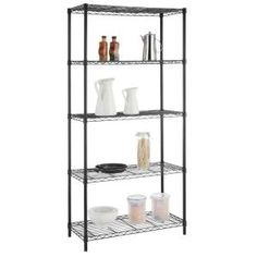 HDX Wire Garage Storage Shelving Unit in Black in. W x 72 in. H x 16 in. - The Home Depot Steel Shelving Unit, Heavy Duty Shelving, Wire Shelving Units, Metal Shelves, Garage Storage Shelves, Storage Spaces, Storage Organization, Dry Food Storage, Plastic Shelves