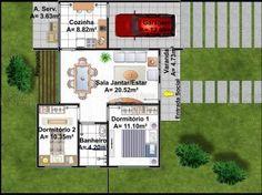 Casa C003: Projeto de casa com 2 quartos, 1 banheiro e 1 vaga na garagem. Acabamento da fachada moderno, em platibanda. Ideal para terrenos pequenos.