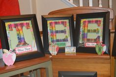 Teacher Gifts Personalized Rainbow Crayon Letter Art - Letters T, E, and E