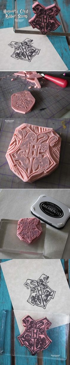 Hogwarts Crest Rubber Stamp DIY! Carve and cut your own stamp!