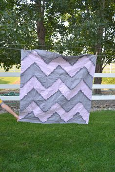 Chevron Rag Quilt Sewing PATTERN Reversible by avisiontoremember