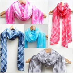 Floaty tie dye scarves in our shop