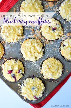 Orange and Brown Butter Blueberry Muffins - these are SO amazing! Fresh orange zest and nutty brown butter make these blueberry muffins extra special.