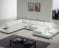 white branch / trees in planters on floor as decorations | Tosh Furniture Modern White Sectional Sofa | Modern Furniture For Home