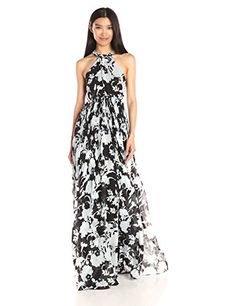 Thakoon Womens Cross Front Gown BlackWhite 4 ** You can get more details by clicking on the image.