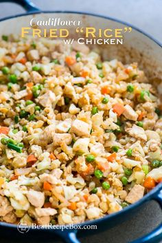Cauliflower fried Rice Recipe with Chicken that's Healthy and Easy! | /bestrecipebox/