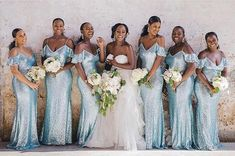 The prettiest shade of blue for these bridesmaids dresses. With quarantine and all, where will your bridesmaids be getting their dresses from? Inexpensive Bridesmaid Dresses, Girls Bridesmaid Dresses, Wedding Dresses, Party Dresses, Bridesmaid Bouquet White, Wedding Bridesmaids, Sequin Wedding, Wedding Bells, Wedding Flowers