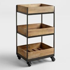 Our Wooden Gavin Rolling Cart features a crate look and casters so that you can easily move it from room to room. A refreshing way to organize a small home office or store bathroom essentials, you won't be able to resist this decorative storage solution. Diy Kitchen, Kitchen Storage, Kitchen Carts, Bathroom Storage, Kitchen Small, Wood Storage, Diy Storage, Storage Boxes, Bathroom Cart