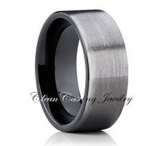 Gun Metal Tungsten Wedding Band,Mens Tungsten Ring,Men Tungsten Carbide,Brushed Polish,Pipe Cut,Anniversary,Men Tungsten Band