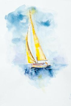 Original YELLOW Art, Sailboat Art sailing Art, Yellow Wall art, Original Water Color, Water Colour Print by PaulCheneyArt on Etsy Watercolor Landscape, Watercolour Painting, Painting & Drawing, Watercolours, Sailboat Art, Sailboat Painting, Sailboat Drawing, Art Jaune, Yellow Wall Art