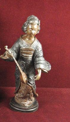 Japanese+Geisha+Woman+Bronze+Statues+Holding++a+Lute