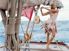 Muse Beach Editorial, Boat Girl, Beach Activities, Elle Macpherson, Sailing Outfit, Sail Away, Bikinis, Swimwear, Outdoor Decor