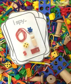I Spy Sensory Tub Play - how to make your own I Spy Sensory tub for play. Use our FREE I Spy cards to help build maths rich vocabulary during play Sensory Tubs, Sensory Boxes, Sensory Play, Sensory Diet, Preschool Classroom, In Kindergarten, Motor Activities, Preschool Activities, Maths Resources