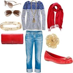 """""""casual and fun outfit, blue stripes and red with Stella and Dot Jewelry"""" by pickypalate on Polyvore"""