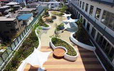 Asakayama Hospital @ Plaza of Hope (Rehabilitationsgarten auf dem Dach) Landscape Design Plans, Landscape Architecture Design, Urban Landscape, Rooftop Terrace, Terrace Garden, Terrasse Design, Rooftop Design, Garden Inspiration, Backyard