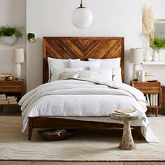 West Elm offers modern furniture and home decor featuring inspiring designs and colors. Create a stylish space with home accessories from West Elm. White Wood Bedroom Furniture, Wood Bedroom Sets, Queen Bedroom Sets, West Elm Bedroom, Home Bedroom, Bedroom Suites, Master Bedroom, Farmhouse Bedroom Set, Reclaimed Wood Beds