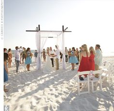 Circle ceremony set up. Great for intimate weddings.  Casual Beach Ceremony