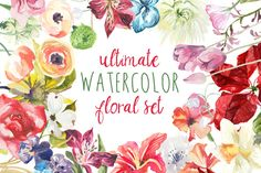 Ultimate #Watercolor Floral Set by Digital Press Creation on Creative Market
