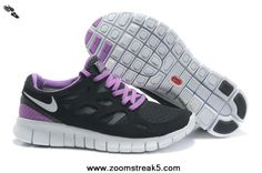 Authentic 443816-005 Black White-Anthracite-Bright Violet Nike Free Run 2 Mens For Sale