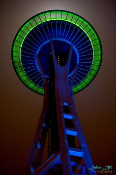 Space Needle in Seahawks blue and green