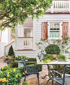 Scandi Style Meets Sunny Yellow in This California Cottage - Romantic Homes Outdoor Spaces, Outdoor Living, Outdoor Decor, Patio Design, House Design, Southern Porches, French Country Living Room, Beach Bungalows, House With Porch