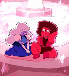 jen-iii:  'Ahh, we kinda…got off on the wrong foot there soo..let's start over?… Hi, My name's Ruby.''Hello Ruby, I'm Sapphire. It's so good to finally meet you. I think our future together will be very bright.''Haha! How would you know? Well..whatever! I think it will be too!'(I'm just over here counting the days till this episode Im SO. EXCITED.)
